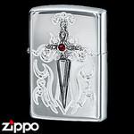 Sterling Silver Zippo - Victorian Dagger  (Red)