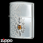 Sterling Silver Zippo - Emblem of Kings  (Amber)