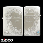 Pair Zippo - Crystal Rose  (Silver)