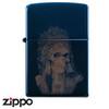 Skull Zippo - Titanium Indian  (Blue)