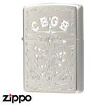 Skull Zippo - Official CBGB Zippo  (Silver Satina)