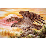 Hawk Against Mount Fuji - Japanese Design 1500 Small Piece Jigsaw Puzzle
