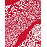 Flower Flow - Mini Tenugui (Japanese Multipurpose Hand Towel) - Crimson