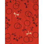 Dragonflies in the Autumn  - Mini Tenugui (Japanese Multipurpose Hand Towel) - Red