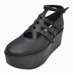 BELLY BUTTON No.120 / Black Smooth Platforms