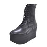 BELLY BUTTON No.720 / Black-Smooth Platform Boots