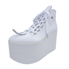 BELLY BUTTON No.722 / White Smooth Platform Shoes