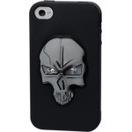 iPhone 4/4S Skull Silicone Case - Black x Silver