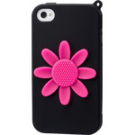iPhone 4/4S Flower Silicone Case - Black x Pink