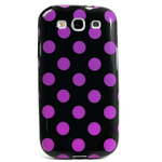 GALAXY S3 TPU Shell Case - Polka Dot Black x Pink