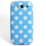 GALAXY S3 TPU Shell Case - Polka Dot Blue x White