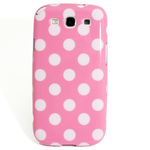 GALAXY S3 TPU Shell Case - Polka Dot Pink x White