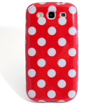 GALAXY S3 TPU Shell Case - Polka Dot Red x White