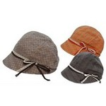 Checkered Cloche Hat with Ribbon