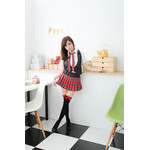 AKIBA-style Pleated Checker Mini Skirt with Short-Sleeve Tops & Black Vest
