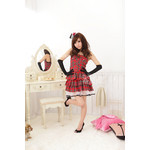 AKIBA-style Shirred Back Checkered Frill Dress