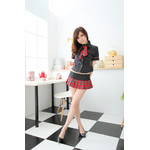 AKIBA-style Black Shirt with Red Checker Mini Skirt