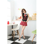 AKIBA-style Piped Black Vest with Pleated Checker Mini-Skirt