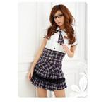 AKIBA-style High-Waist Piped Skirt Set