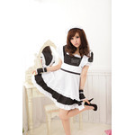 Square-Neck Maid Cosplay Costume with Frilled Apron