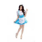 Puff-Sleeve Polka-Dot Maid Cosplay Costume - Blue