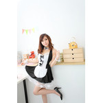 Halterneck Camisole Maid Dress with Front Ribbon - Black