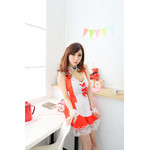 Halterneck Camisole Maid Dress with Front Ribbon - Red