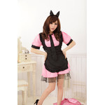 Black Apron Maid Cosplay Costume Set - Pink