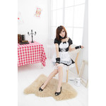 Maid Cosplay Costume with Cuffs, Choker and Lace Apron