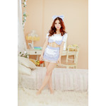 Saxe Blue Gingham Maid Cosplay Costume with Ribbon Head Band