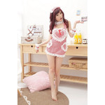 Gingham Maid Cosplay Costume with Heart Lace Apron