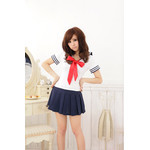Japanese High-School 'Sailor' Uniform-Style Cosplay Costume with Ribbon Tie