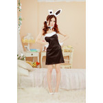 Furry Bunny She -Devil Camisole Dress Cosplay Costume (Black)