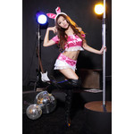 Off Shoulder Frilled Lace Cosplay Costume with Bunny Ears