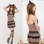 Frilled Skirt Leopard Seductress Cosplay Costume