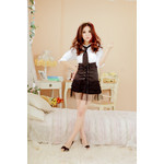 Secretary Cosplay Costume with Front-Laced Skirt