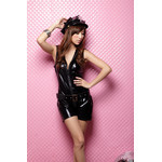 Sleeveless Enamel Police Mistress Cosplay Costume