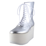 BELLY BUTTON No.720 / Silver-Smooth Platform Boots
