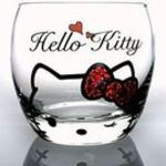 Sanrio Hello Kitty × Crysyal Scene rocks glass (wink) Candy Red
