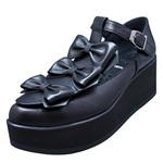 UNBILICAL No.156 / Black triple ribbons shoes