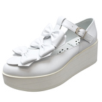 UNBILICAL No.156 / White triple ribbons shoes