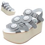 BELLY BUTTON No.933 / Gray nubuck Platform sandals