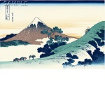 "Reproduced Woodblock Print-Thirty-six Views of Mount Fuji ""Inume Pass in Kai Province""  Tokyo traditional woodcut craft cooperatives certified."