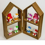 "iwako Japanese Erasers,Cute six""Hello Kitty""and tow""My Melody"". Display shelf equipped with."