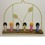 "iwako Japanese Erasers,Cute six ""Kokeshi"". Decorative shelf is equipped with."