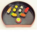 "iwako Japanese Erasers, Delicious six ""sushi"" and Japanese tea. Japanese Tray is equipped with."
