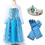 CREDIBLE Ana and snow Queen Elsa wind children's costume 4 piece set (Tiara princess dress up, heart, gloves, CREDIBLE? original) 130 cm TO 323