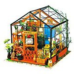With LED Robotime Doll House 3D puzzle miniature DIY wooden children toys (florist)