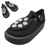 TOKYO BOPPER No.879 / Black & Silver bijou shoes